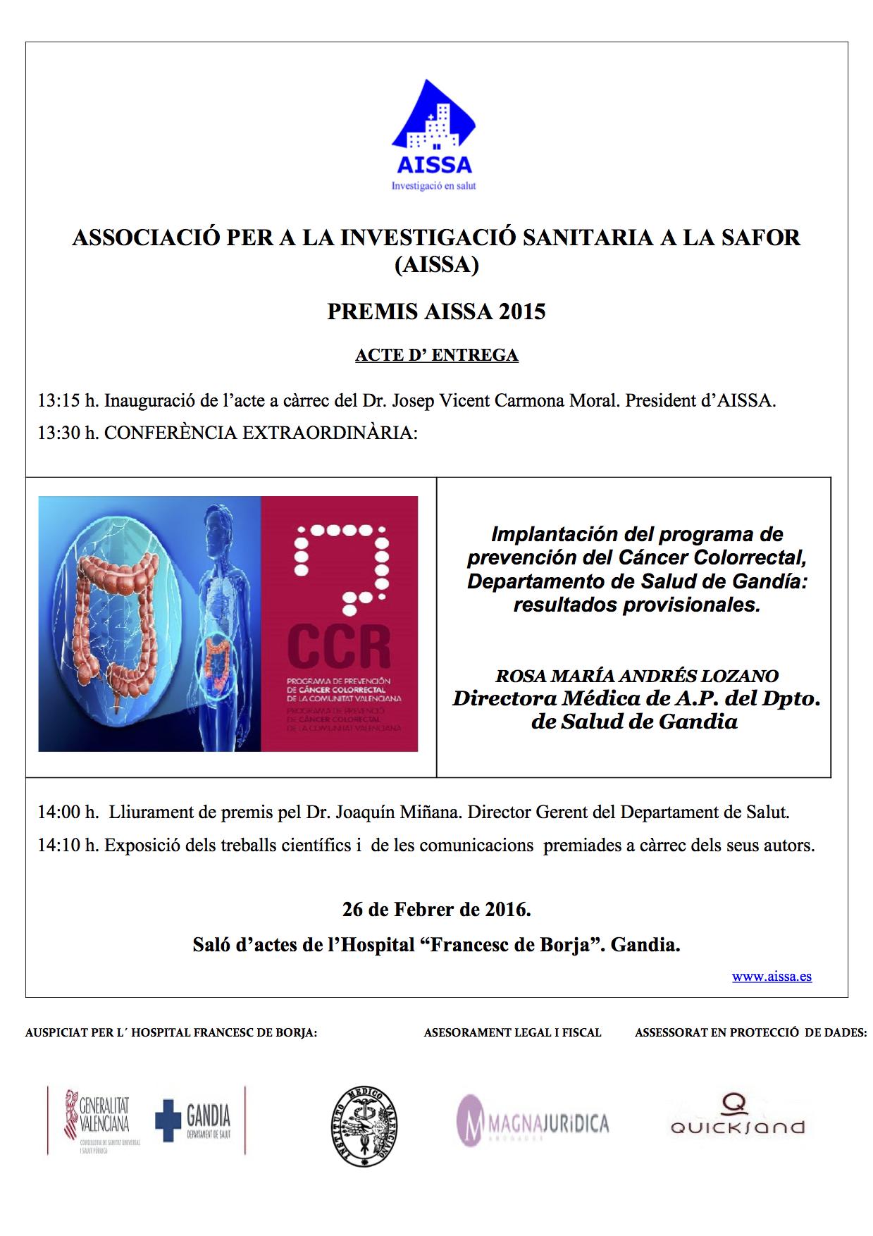 Cartel  Acto PREMIOS AISSA 2015