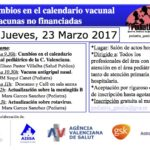 Cambios en el calendario vacunal y vacunas no financiadas